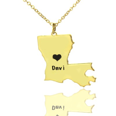 Custom Louisiana State Shaped Necklaces - Solid Gold
