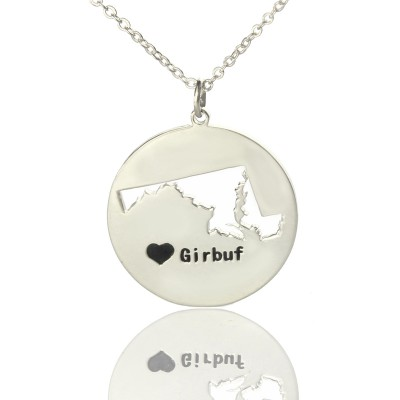 Solid White Gold Custom Maryland Disc State Name Necklace s