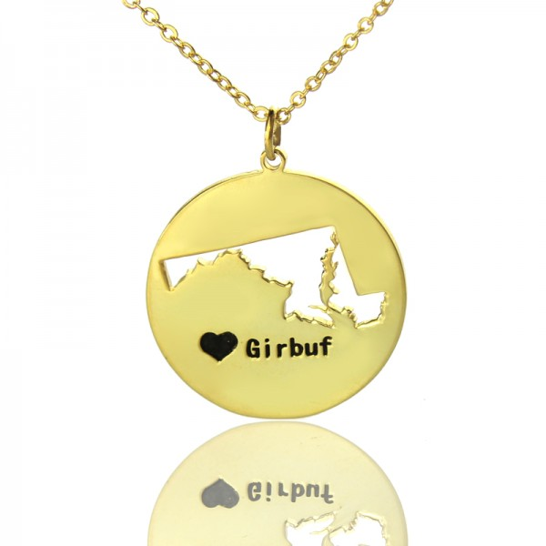 Custom Maryland Disc State Necklaces - Solid Gold