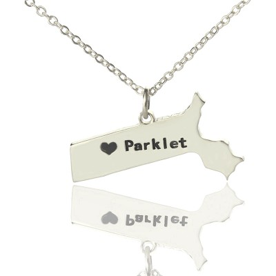 Solid Gold Massachusetts State Shaped Name Necklace s