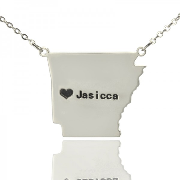 Solid White Gold Custom AR State USA Map Name Necklace