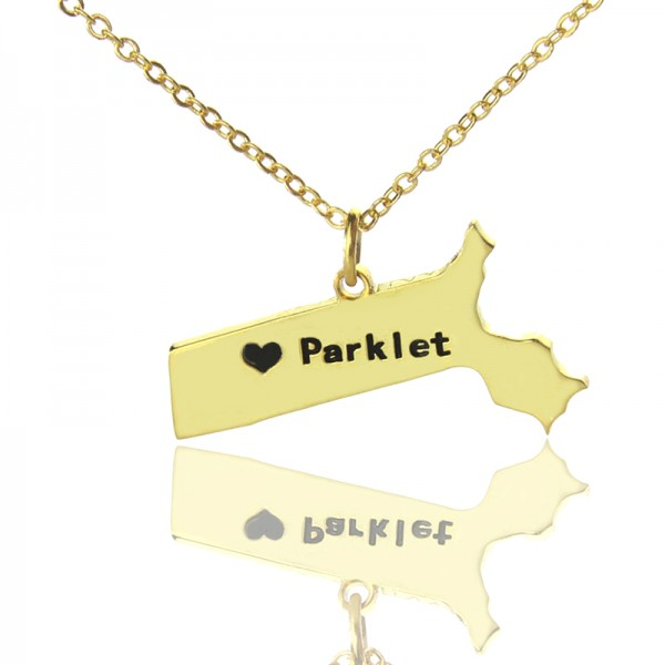 Massachusetts State Shaped Necklaces - Solid Gold