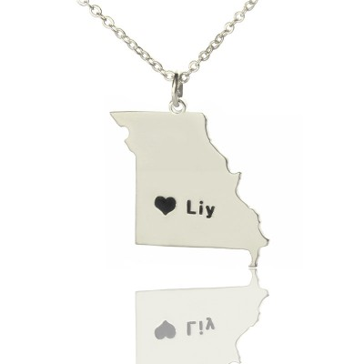 Solid White Gold Custom Missouri State Shaped Name Necklace s