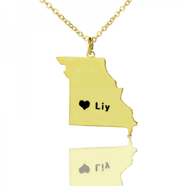 Custom Missouri State Shaped Necklaces - Solid Gold