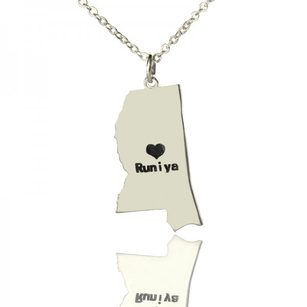 Solid Gold Mississippi State Shaped Name Necklace s