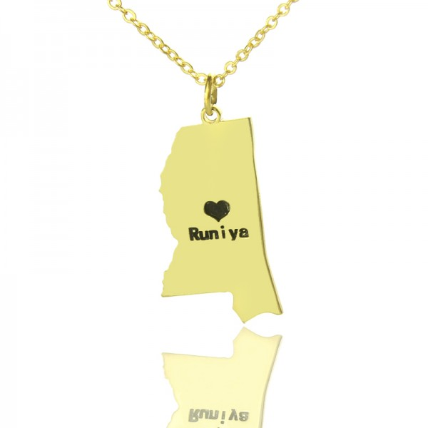 Mississippi State Shaped Necklaces - Solid Gold
