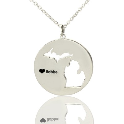Solid White Gold Custom Michigan Disc State Name Necklace s