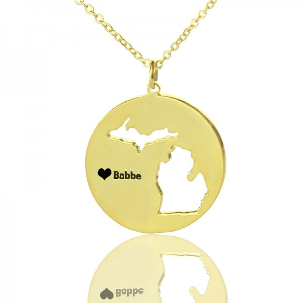 Custom Michigan Disc State Necklaces - Solid Gold