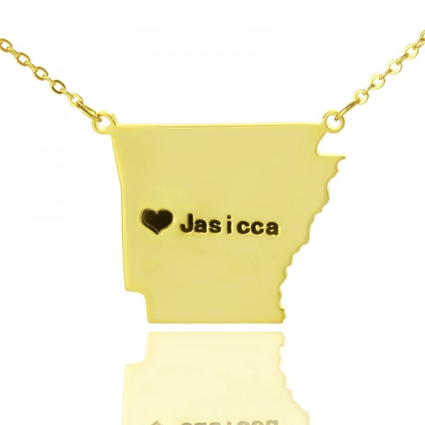 Custom AR State USA Map Necklace - Solid Gold