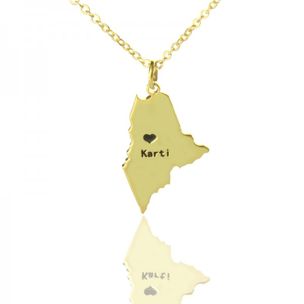 Custom Maine State Shaped Necklaces - Solid Gold