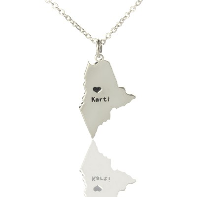 Solid White Gold Custom Maine State Shaped Name Necklace s