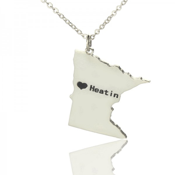 Solid White Gold Custom Minnesota State Shaped Name Necklace s