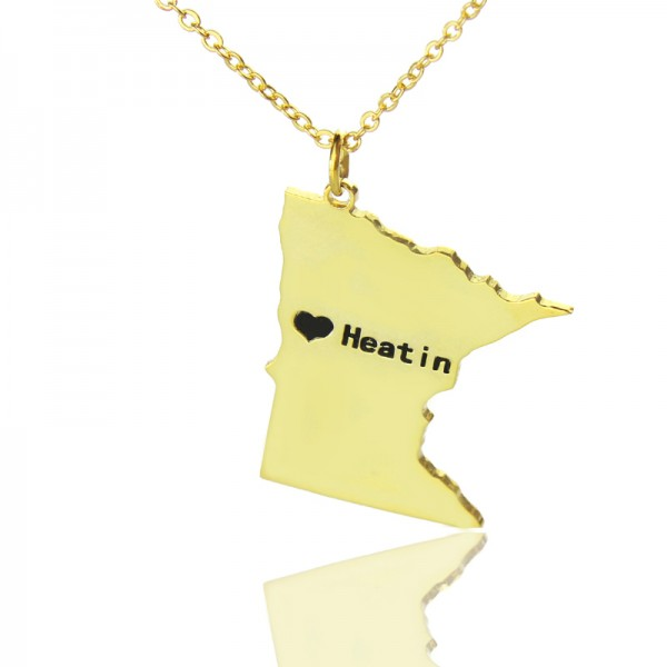 Custom Minnesota State Shaped Necklaces - Solid Gold