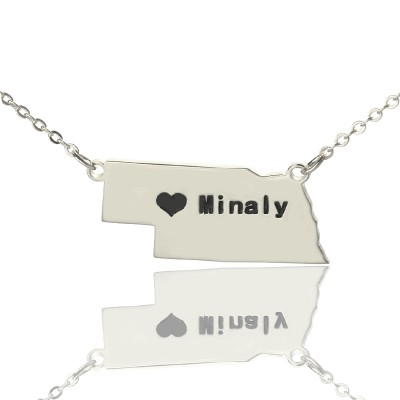 Solid White Gold Custom Nebraska State Shaped Name Necklace s