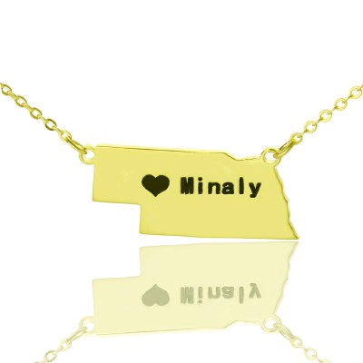 Custom Nebraska State Shaped Necklaces - Solid Gold