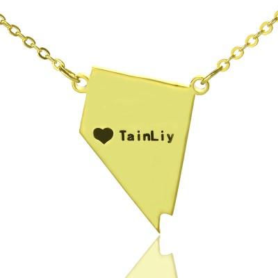 Custom Nevada State Shaped Necklaces - Solid Gold