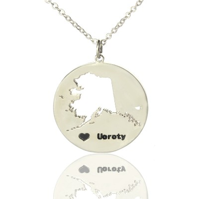 Solid White Gold Custom Alaska Disc State Name Necklace s