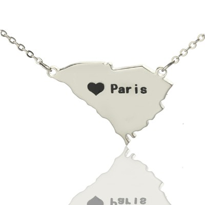 Solid Gold South Carolina State Shaped Name Necklace s