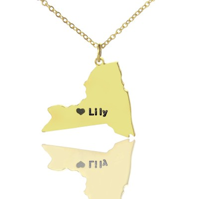 Personalised NY State Shaped Necklaces - Solid Gold