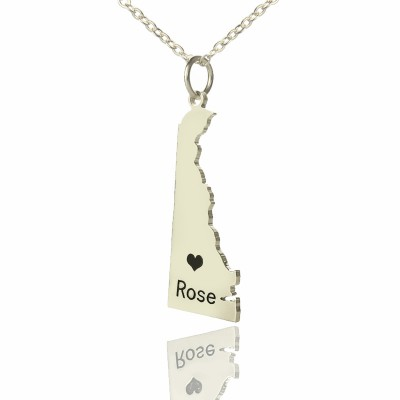 Solid White Gold Custom Delaware State Shaped Name Necklace s