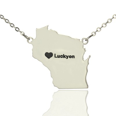 Solid Gold Custom Wisconsin State Shaped Name Necklace s