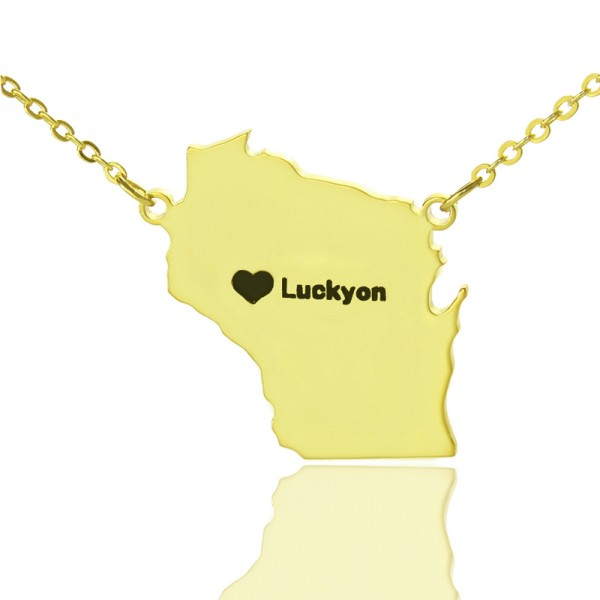 Custom Wisconsin State Shaped Necklaces - Solid Gold