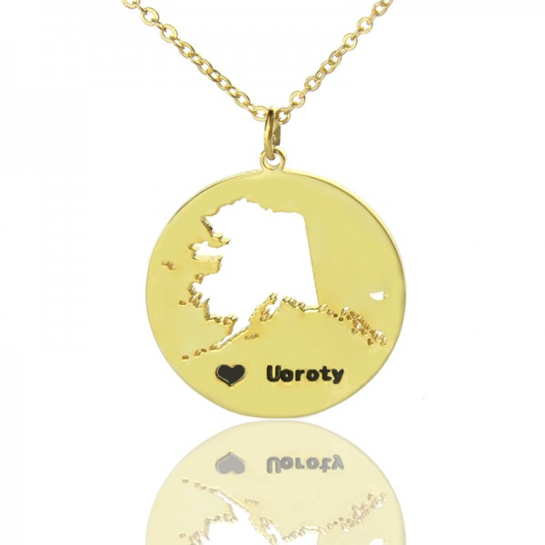 Custom Alaska Disc State Necklaces - Solid Gold
