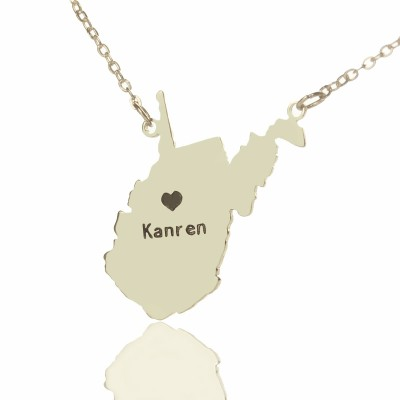 Solid Gold Custom West Virginia State Shaped Name Necklace s