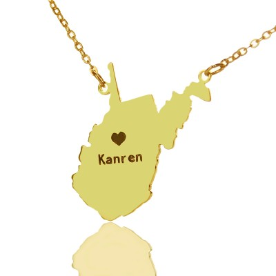 Custom West Virginia State Shaped Necklaces - Gold