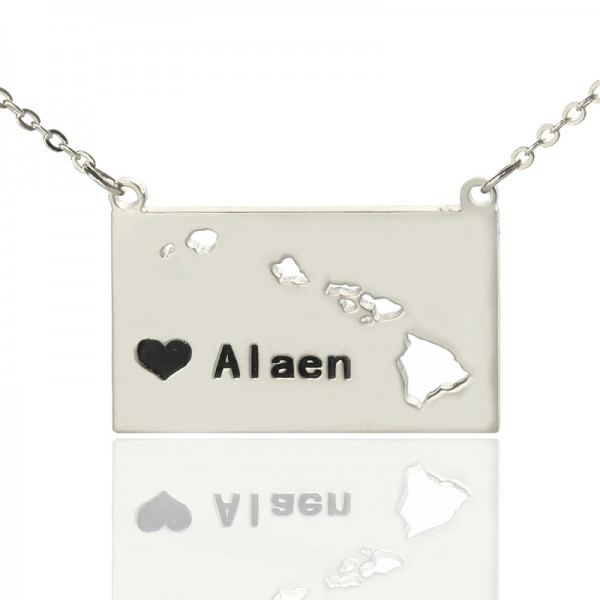 Solid White Gold Custom Hawaii State Shaped Name Necklace s
