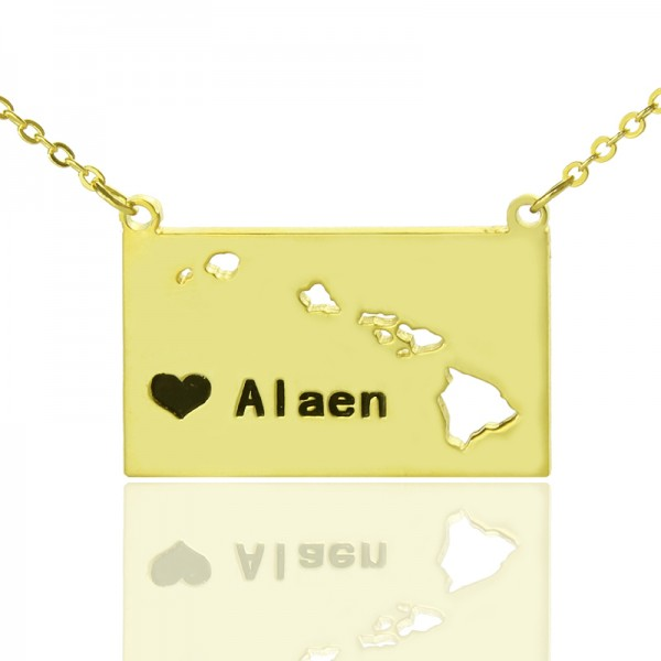 Custom Hawaii State Shaped Necklaces - Solid Gold