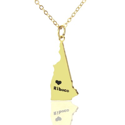 Custom New Hampshire State Shaped Necklaces - Gold