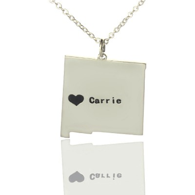 Solid White Gold Custom New Mexico State Shaped Name Necklace s