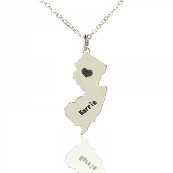 Solid White Gold Custom New Jersey State Shaped Name Necklace s