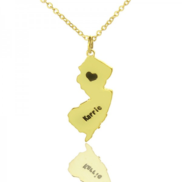 Custom New Jersey State Shaped Necklaces - Gold