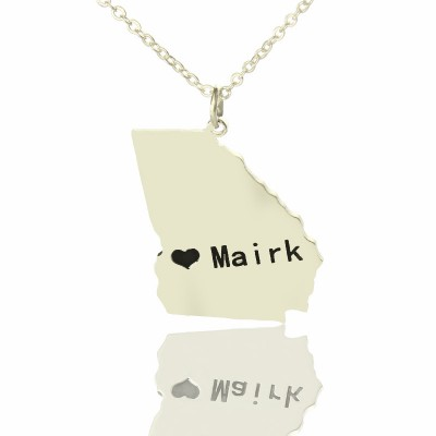 Solid White Gold Custom Georgia State Shaped Name Necklace s