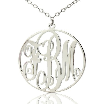 Personalised 18CT White Gold Vine Font Circle Initial Monogram Necklace