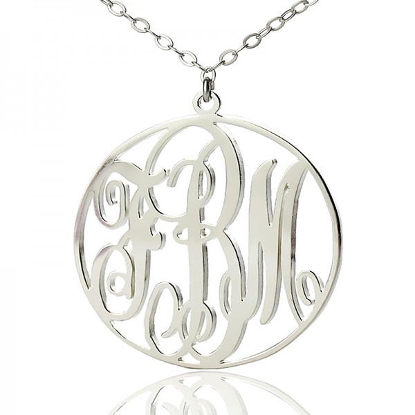 Solid Gold Name Necklace Fancy Circle Monogram Name Necklace
