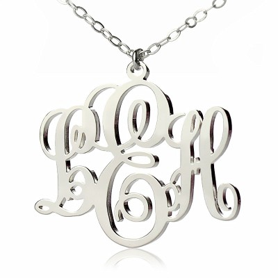 Personalised Vine Font Initial Monogram Necklace 18CT White Gold