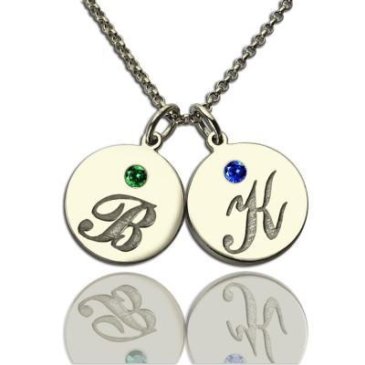 Solid Gold Disc Necklace with Initial Birthstone