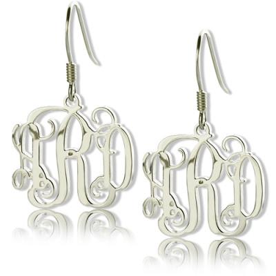 Personalised 18CT White Gold Monogram Earrings