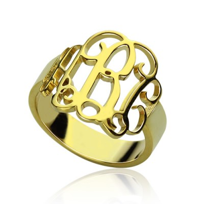 18CT Gold Monogram Ring Cut Out