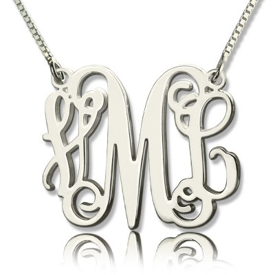 Solid Gold Monogram Initial Necklace