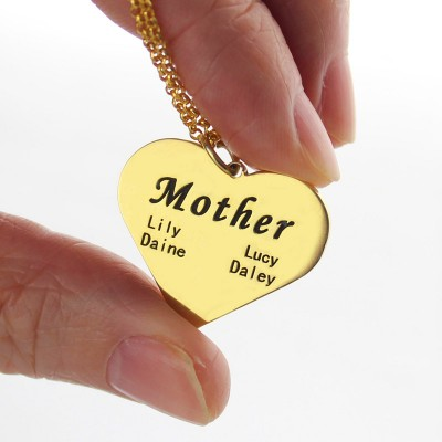"""""""Mother"""" Heart Family Names Necklace - 18CT Gold"""