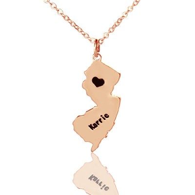 Custom New Jersey State Shaped Necklaces - Rose Gold