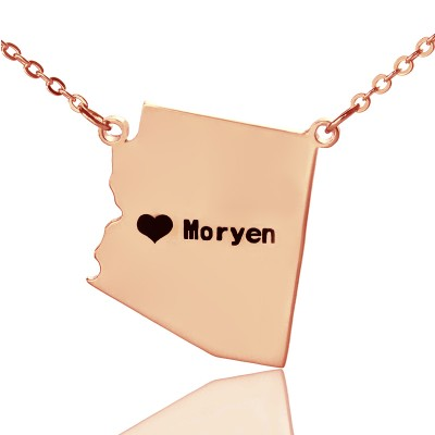 Custom Arizona State Shaped Necklaces - Rose Gold