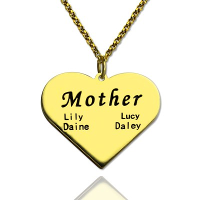 """Mother"" Heart Family Names Necklace - 18CT Gold"