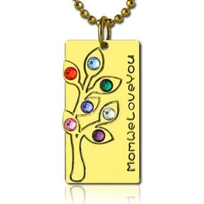 Solid Gold Mothers Birthstone Family Tree Necklace