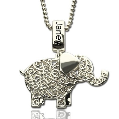 Solid Gold Elephant Charm Necklace with Name Birthstone
