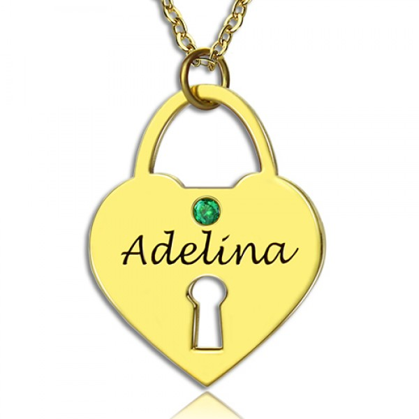 I Love You Heart Lock Keepsake Necklace With Name - 18CT Gold